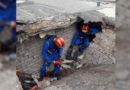 Спасательные работы на месте обрушения стены гаражного строения